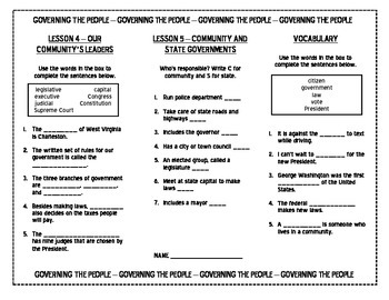 Harcourt Social Studies Unit 1 Governing the People TRIFOLD