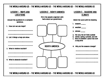 Harcourt Social Studies Unit 2 The World Around Us TRIFOLD