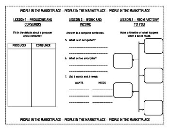 Harcourt Social Studies Unit 6 People In The Marketplace TRIFOLD