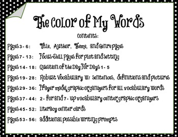 """Harcourt StoryTown 6th Grade """"Color of My Words"""" Entire Unit - Plot & Setting"""