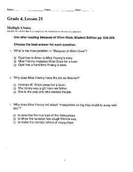 Harcourt StoryTown Adapted Weekly Lesson Tests, Grade 4, Lessons 21-25, 3-choice