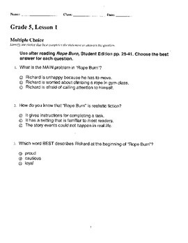 Harcourt StoryTown Adapted Weekly Lesson Tests, Grade 5, Lessons 1-5, 3-choice
