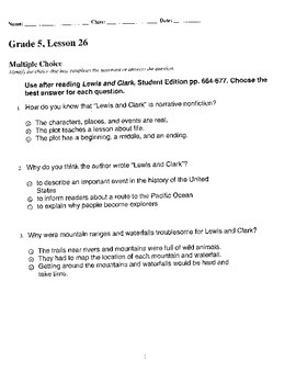 Harcourt StoryTown Adapted Weekly Lesson Tests, Grade 5, L