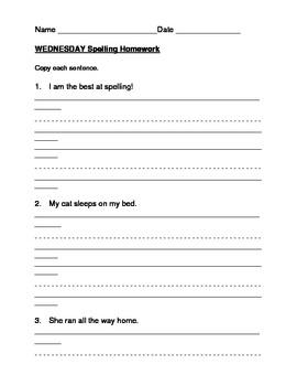 Harcourt StoryTown Grade 1 Spelling Homework Packets