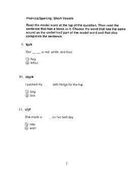 Harcourt Storytown Adapted Weekly Tests, Grade 2, Lessons 1-5