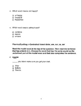 Harcourt Storytown Adapted Weekly Tests, Grade 3, Lessons 16-20 (three choices)