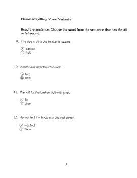 Harcourt Storytown Adapted Weekly Tests, Grade 3, Lessons 21-25 (two choices)