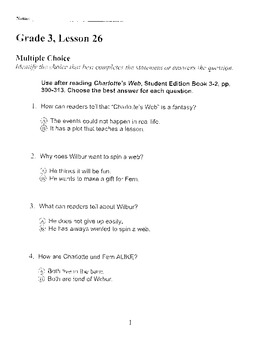 Harcourt Storytown Adapted Weekly Tests, Grade 3, Lessons 26-30 (two choices)