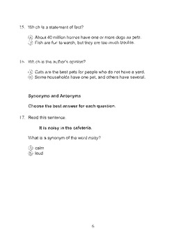 Harcourt Storytown Adapted Weekly Tests, Grade 3, Lessons 6-10 (two choices)