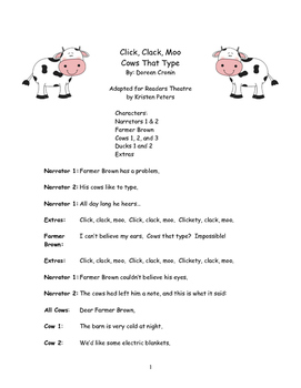 Harcourt Storytown Click, Clack Moo Cows That Type Reader's Theatre