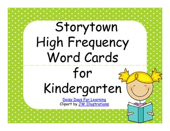 Harcourt Storytown High Frequency Word Cards for Kindergarten