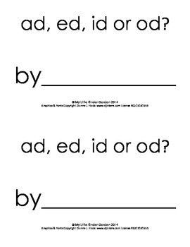Harcourt Storytown K, lesson 21, 2 books.  ad, ed, id or od? & an, en, in or on?