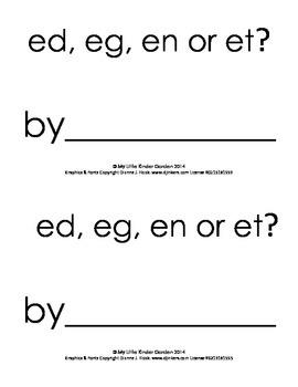 Harcourt Storytown K, lesson 23, -ed, -eg, -en, -et book