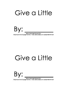 Harcourt Storytown K, lesson 26, Give a Little, book with hfw give, little,
