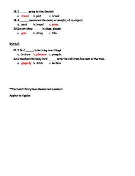 Harcourt Storytown Spelling Test lesson 1