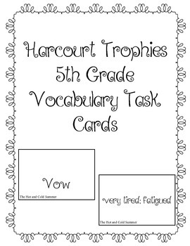 Harcourt Trophies 5th Grade Vocabulary Task Cards