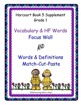 Harcourt Trophies FIRST GRADE Book 5: Vocabulary and HF Word-Definition Match