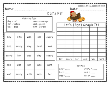 """Harcourt Trophies """"Dan's Pet"""" - Find, Color, Graph Sight Word Practice"""