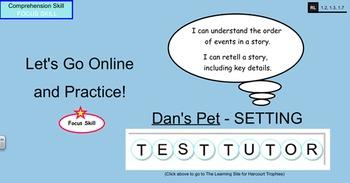 "Harcourt Trophies ""Dan's Pet"" Comprehensive Smartboard for 1st Grade"