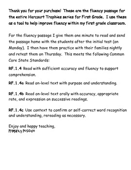 Harcourt Trophies First Grade Fluency Pack