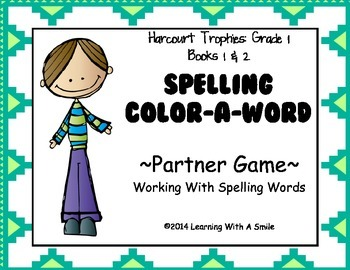 Harcourt Trophies FIRST GRADE Spelling Partner Game: Color-A-Word