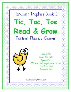 Harcourt Trophies Grade 1 ~ Fluency Game ~ Tic, Tac, Toe- Read and Grow ~ Book 2