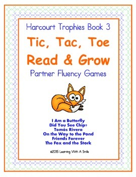 Harcourt Trophies Grade 1 ~ Fluency Game ~ Tic, Tac, Toe- Read and Grow ~ Book 3