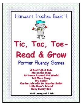 Harcourt Trophies Grade 1 ~ Fluency Game ~ Tic, Tac, Toe- Read and Grow ~ Book 4