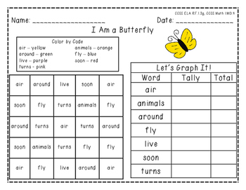 """Harcourt Trophies """"I Am a Butterfly"""" - Find, Color, Graph Sight Word Practice"""
