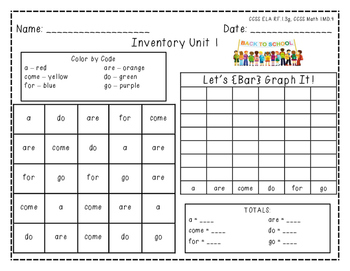 "Harcourt Trophies ""Inventory Unit 1"" - Find, Color, Graph Sight Word Practice"