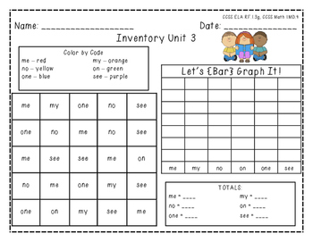 "Harcourt Trophies ""Inventory Unit 3"" - Find, Color, Graph Sight Word Practice"