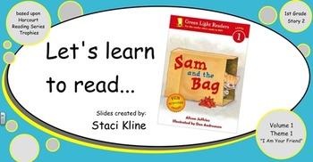 "Harcourt Trophies ""Sam and The Bag"" Comprehensive Smartboard for 1st Grade"