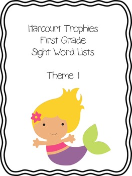 Harcourt Trophies Sight Word Lists 1st Grade