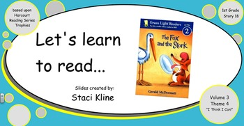 """Harcourt Trophies """"The Fox and the Stork"""" Comprehensive Smartboard for 1st Grade"""