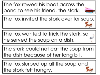Harcourt Trophies~ The Fox and the Stork story activities