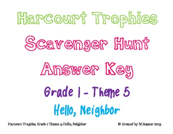 Harcourt Trophies Theme 5 Grade 1 Answer Key
