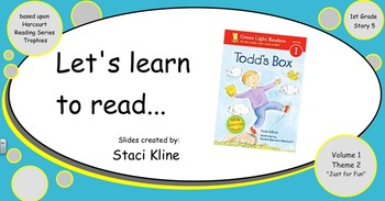 """Harcourt Trophies """"Todd's Box"""" Comprehensive Smartboard for 1st Grade"""