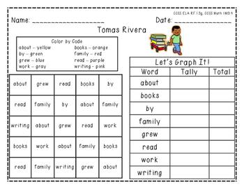 "Harcourt Trophies ""Tomas Rivera"" - Find, Color, Graph Sight Word Practice"