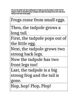 Harcourt Trophies  Where Do Frogs Come From? Differentiated Story Sequence