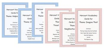 Harcourt Vocabulary Cards for all 30 stories