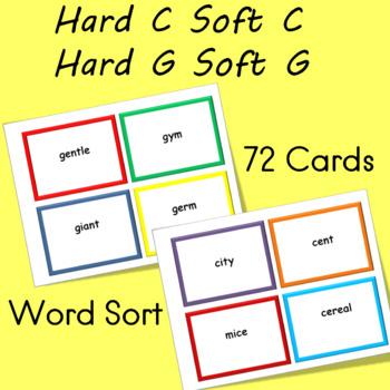 Hard C Soft C  Hard G Soft G  Phonics Word Sort for Reading Fluency  (72 cards)