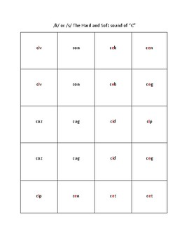 Hard C/Soft C Nonsense Word Concentration Game for Dyslexic/Struggling Readers