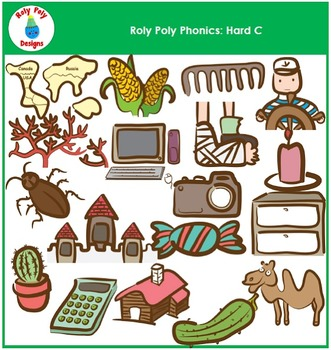 Hard C Words Phonics Clip Art by Roly Poly Designs
