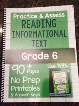 *Hard Copy* Practice & Assess READING INFORMATIONAL TEXT Grade 6