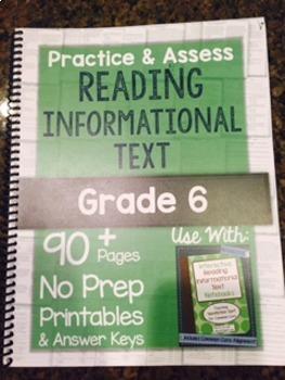 *Hard Copy* Practice & Assess READING INFORMATIONAL TEXT Grade 6