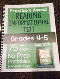 *Hard Copy* Practice & Assess READING INFORMATIONAL TEXT Grades 4-5