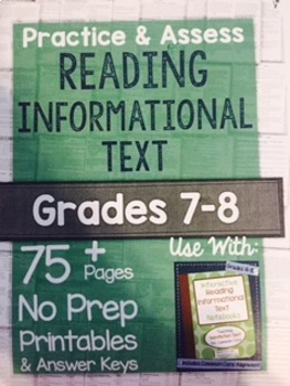 *Hard Copy* Practice & Assess READING INFORMATIONAL TEXT Grades 7-8
