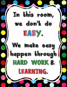 Hard Work - Classroom Poster