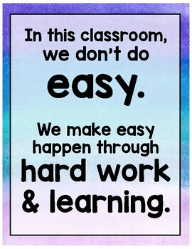 """""""Hard Work and Learning"""" Classroom Poster"""