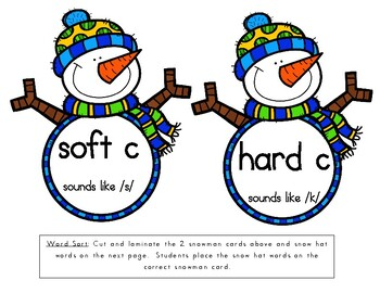 Hard and Soft C & G Practice: Winter Themed